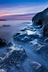 Misty Blues (paulwynn-mackenzie.co.uk) Tags: ocean uk longexposure blue sunset sea portrait england mist seascape colour water misty photoshop dark landscape paul photography bay shiny rocks photographer britain dusk sony tide a33 devon nd reflective pro bluehour alpha amateur tone hitech slt fossils lightroom bluetone cs5 heybrook wynnmackenzie