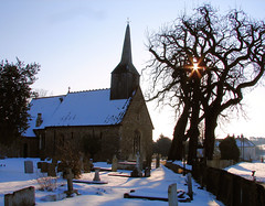 Lucem Deus (Speed of Light [2]) Tags: christmas trees winter light england sunlight snow storm cold ice church nature beauty cemetery graveyard weather season star god unitedkingdom britain pov snowy religion seasonal perspective freezing icestorm postcards churchyard wintertime spiritual naturalbeauty magical essex starburst eastanglia christmascard englishchurch myessex magicalplaces blacknotley
