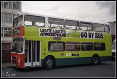 Create a Better Atmosphere - GO BY BUS (Zippy's Revenge) Tags: bus green transport an advert depot busstation advertisment leyland wigan atherton olympian greatermanchester 3092 gmbuses northerncounties ncme onlxb1r gobybus b92sja createabetteratmosphere busesmeanmileslesscongestion