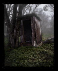 Full Moon Outhouse (Marvin Foran Photography) Tags: fog photoshop georgia fullmoon southgeorgia outhouse canon2470l canon5dmarkii