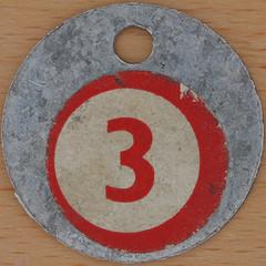 Aluminium Tag Bingo Number 3 (Leo Reynolds) Tags: 3 canon eos iso100 three number squaredcircle lotto 60mm f80 bingo loto onedigit housie housey 0125sec 40d hpexif numberset grouponedigit numberbingo houseyhousey xsquarex housiehousie xleol30x sqset071 bingoset21