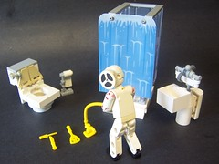 TAD!! What the #&%* are you doing?? (monsterbrick) Tags: pee bathroom shower lego sink toilet technic restroom piss tad tp moc