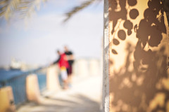 Behind the Wall (redaleka) Tags: shadow sea people blur tree beach nature colors leaves stone wall focus bars couple colorful iron paint shadows dof bokeh pavement watching cage scene prison moment distance aqaba