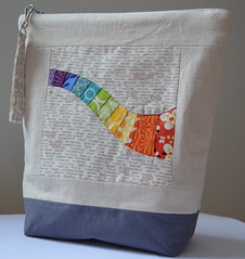 Mouthy Stitches Practice Pouch (jenjohnston) Tags: grey rainbow natural linen text pouch zipper paperpieced