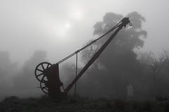 Burra railway crane (Mangrove Rat) Tags: mist heritage sunrise crane railway australia railwaystation disused southaustralia midnorth broadgauge barrierhighway railwayinfrastructure burrasa railwaycrane peterboroughdivision burrarailwaystation