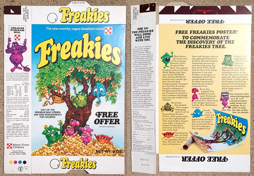 1972 Ralston Freakies Poster Test Market Cereal Box
