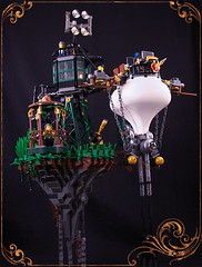 From below (captainsmog) Tags: tower grass mushrooms chains rivets lego panoramic tourists passengers telescope copper blimp gears vignette diorama dirigible steampunk mocs moc floatingrock semaphoric