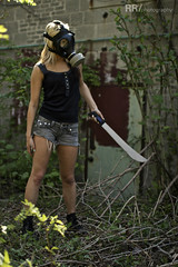 IMG_0144WM (RobRoselli) Tags: woman beautiful alone zombie badass apocalypse gasmask machete fearless fallout