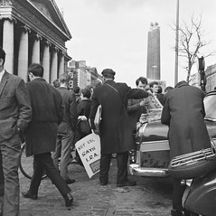 March 9, 1966 (National Library of Ireland on The Commons) Tags: ireland dublin car rolleiflex wednesday march newspapers scooter 1966 1960s ira 9th crowds seller sixties gpo henrystreet oconnellstreet leinster nationallibraryofireland rolleiflexcamera irishrepublicanarmy eveningpress nelsonspillar nelsonpillar elinorwiltshire wiltshirephotographiccollection
