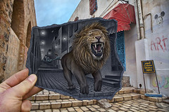 Pencil Vs Camera - 63 (Ben Heine) Tags: life street light wild moon streetart art colors animal architecture illustration contrast speed buildings dark painting hair paper stars photography freedom vanishingpoint jump escape hand tunisia drawing pavement mixedmedia surrealism details main ghost perspective creative lion champion competition dessin moustache illusion jungle mickeymouse unfinished reality imagination troll innovation creature rue dibujo mighty roar papier oldtown nuit depth saut nightandday roaring trottoir vitesse felin ghostbuster crosshatching kingoftheworld teethe urbanscene chevelure blackpaper betaversion sketchinprogress benheine rugissement pencilvscamera