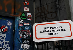 this place is already occupied,right? (wojofoto) Tags: amsterdam stickerart stickers combo spuistraat streeart stickercombo wojo wojofoto