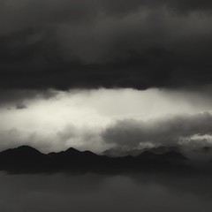 lifting storm (StephenCairns) Tags: morning blackandwhite bw mist mountain storm japan clouds day explore   gifu   canon50d stephencairns 70200mmf4isusm 50dcanon