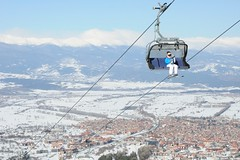 Going up (ceracera) Tags: winter mountain ski fromabove bulgaria skilift bansko panoramicview