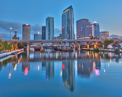 Downtown Tampa from the Platt Street Bridge (Photomatt28) Tags: reflection tampa florida bankofamerica nik wellsfargo hdr suntrust hillsboroughriver downtowntampa beercanbuilding rivergatetower sykesbuilding regionsbuilding toapz plattstreetbridge broreinstreetbridge oloneo