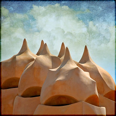 visions of meringue dancing in my head (1crzqbn) Tags: barcelona espaa sunlight color architecture square shadows textures ie shining chimneys casamil hypothetical antonigaudi hss vividimagination artdigital trolled awardtree artistictreasurechest lunagallery daarklands magicunicornverybest trollieexcellence exoticimage 1crzqbn sliderssunday netartii visionsofmeringuedancinginmyhead 16522012