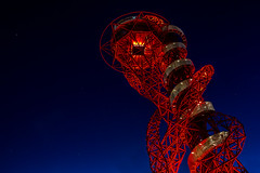 The ArcelorMittal Orbit... (P1ay) Tags: blue red wallpaper london canon airplane photography bluesky explore photograph hour bluehour olympic pictureoftheday olympicstadium stockimages backgroundimage redblueyellow backgroundwallpaper olympicceremony starsinthesky canon60d lightrooms orbittower olympicstadium2012 queenelizabetholympicpark thearcelormittalorbit londonorbit p1ay olympicparkatnight londonorbitatnight redorbittower orbittowerinolympicpark