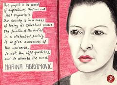 Marina Abramovic (bornschein) Tags: red white black art moleskine illustration artist drawing quote text sketchbook illustratedface hrefhttpwwwpinterestcombosch0054portraitsdatapinscalewidth80