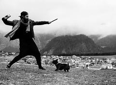 A Man & His Dog (bencreasey1) Tags: dog white man black love nature monochrome austria play bond