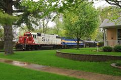 A brief disturbance (GLC 392) Tags: city railroad trees house rain minnesota train town illinois spring railway line il local hampton soo eastern job dakota dme 4004 emd gp382 gp40 4448 nitrin