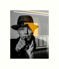 Comment expliquer.. ? (hlne chantemerle) Tags: art jaune blackwhite exposition reflet rue beuys affiche vitrine noirblanc artiste photograhie