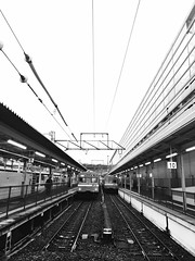 () Tags: railroad sky white black public station train way point outdoors kyoto long track day power empty perspective rail railway cable line journey transportation  vanishing  forward diminishing supply iphone   japan