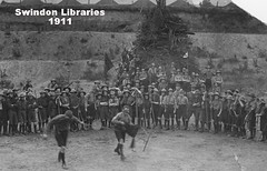 1911 : Swindon Scouts - games in the Quarry (postcard) (Local Studies, Swindon Central Library) Tags: bw playing game boys play postcard group swindon scout games scouts 1910s wiltshire quarry 1911