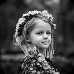 proud princess (pajus79) Tags: light shadow portrait bw white black colour girl smile look proud hair square outside happy mono kid nikon play princess please little head daughter dandelion wreath fairy enjoy crown lovely dear darling doty aneka circlet d80 55200456