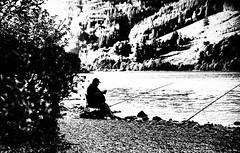 fish supper (morag.darby) Tags: blackandwhite bw black beach monochrome digital mono scotland fisherman nikon noiretblanc candid shore nikkor silouhette lochlubnaig d3300