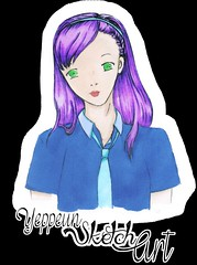 Pretty Sketch Project ~ 04 [colored] (Lia Jung - Yeppeunyeppeun ART) Tags: anime cute sketch pretty manga colored lovely letraset animegirl