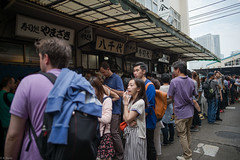 4 hours waiting to eat sushi (kasa51) Tags: people japan sushi restaurant tokyo waiting queue tsukiji longline fishmarket   foreigntourist
