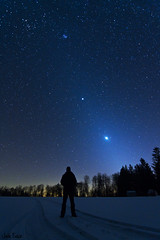 Zodiacal Light & Man (Jack Fusco) Tags: longexposure light selfportrait snow canon stars venus pennsylvania pillar nasa astrophotography astronomy jupiter astronomypictureoftheday zodiacallight starscape earthandspace cherryspringsstatepark canon7d peopleandspace bestnewcomer jackfusco wwwjackfuscocom competition:astrophoto=2012