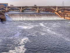 Dam on Mississippi River (Wade Jackson) Tags: bridge river dam sony minneapolis mississippiriver mn hdr hdraddicted hx100v