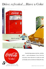 """Coca-Cola Ad (1949) """"Drive refreshed....."""" (BudCat14/Ross) Tags: cars coke 1940s cocacola 1949 vintageads"""