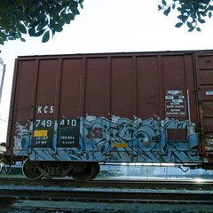 KWEST (TRUE 2 DEATH) Tags: railroad art train graffiti tag graf stock railcar spraypaint boxcar railways railfan freight tvc  kwest boxstars tv25 benching ricohgriv graffitirolling