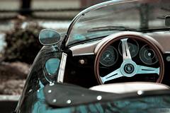 Porsche 1600 Super steering wheel (glxtrix) Tags: reflection leather canon vintage dof bokeh interior mirrors convertible super 1600 porsche windshield speedo odometer steeringwheel dials tach roadster bokehstandard