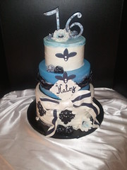 Haley (thcakelady) Tags: cake birthdaycake sweet16 fondant damask bluecake frenchcake gumpastebow fantasyflower damaskcake