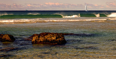 perfect day for it (Fat Burns) Tags: beach seaside surf waves heads goldcoast burleigh sailingboat