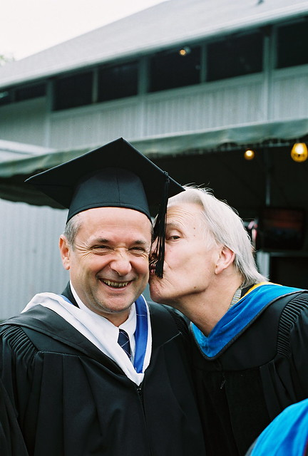 Bob Rngel, Biology (now retired), Kisses Tom Toleno (psychology) on the Cheek