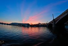 Vltava (duncanreddish) Tags: bridge pink blue sunset red orange water river twilight glow republic czech prague ripple charles most vltava hdr karlv mnesv hdraward