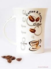 Morning Coffee....... (aroon_kalandy) Tags: cup coffee goodmorning tabletop coffeebeans aroonkalandy