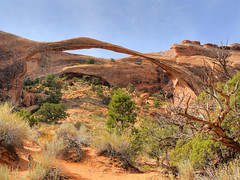 Landscape Arch, Arches National Park (Bryan    Doty) Tags: road park new city trip bridge pink sunset arizona cliff white lake southwest west verde church monument hat coral rock mexico utah colorado dinosaur state bend dam indian dunes south great tracks grand arches roadtrip canyon cliffs glen mexican national staircase crater valley goblin page powell moab hoodoo bryce toadstool zion missile horseshoe marble taos navajo sands carlsbad fires 2008 cavern mesa yucca escalante reservation vermillion dwellings paria chinle dugway mokee polygamist ofthegods bryandoty
