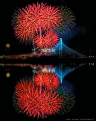 Margaret Hunt Hill Bridge - Fireworks - Dallas, TX (Matt Pasant) Tags: bridge water colors night reflections dallas fireworks tx dfw mhh canonef2470mmf28l mhhbridge