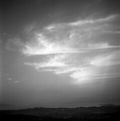 0510059 12 (ndpa / s. lundeen, archivist) Tags: sea sky blackandwhite bw mountains 6x6 tlr monochrome clouds mediumformat landscape island greek islands blackwhite europe skies nick may hills greece 1950s corfu kerkyra 1959 ioniansea dewolf triptoeurope centralgreece nickdewolf photographbynickdewolf