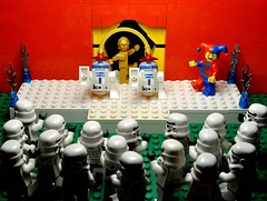 Entertainment on the Death Star (Greg 50) Tags: starwars dance lego jester stormtroopers danse deathstar droids bouffon laguerredestoiles drodes