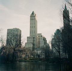 The Pond (johnanthonyroman) Tags: nyc newyorkcity trees winter sky nature buildings centralpark hasselblad 80mm 500cm carlzeiss thepond fujicolorpro400h