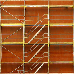 construction (morbs06) Tags: red orange colour lines architecture stairs facade square construction scaffolding düsseldorf