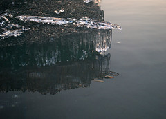 Promontory (Elizabeth Glass) Tags: winter sunset reflection ice nikon refraction thaw boynecity lakecharlevoix d60