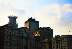 Sunset on the Bund (siddharthx) Tags: china sunset gold golden travels skies shanghai riverside dusk walk azure quay clocktower commercial pedestrians belvedere coffeehouse pudong bund saxophone blacklabel governmentbuildings oldlighthouse sauntering goldensunsets worldfinancialtower financialtower worldtrekker westinbundtower yondering