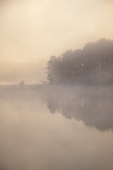 Cloud Riders of Killens Pond (geraldbaranski) Tags: statepark camping trees camp mist lake art nature water fog sunrise canon de outside outdoors photography boat morninglight fishing pond haze earlymorning felton delaware campground atmospheric 24105mm killenspond killenspondcouplesretreat2012