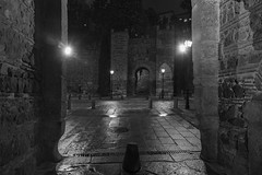 Puerta de Alcntara por la noche (Eduardo Estllez) Tags: espaa blancoynegro horizontal monocromo noche lluvia arquitectura puerta europa medieval viajes toledo fortaleza arabe entrada nocturna farolas historia piedra oscuro mojado nadie castillalamancha almenas murallas edadmedia arquitecturamilitar destinostursticos pareddepiedra lugardeinters turismourbano puertadealcantara eduardoestellez estellez pareddecontorno paredfortificada